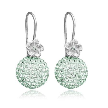 Sølv ørering med stor smuk kugle med Swarovski krystaller