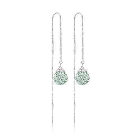 Sølv øretråd med mint grønne Swarovski krystaller