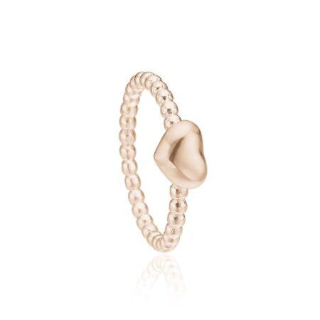 Priesme hjerte ring i rosa forgyldt