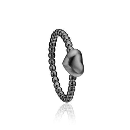 Priesme hjerte ring i sort rhodineret sølv
