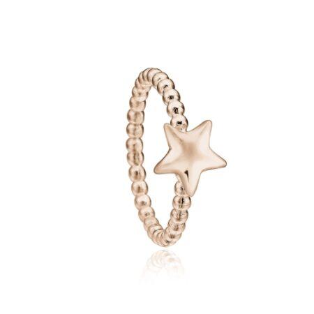 Priesme stjerne ring i rosa forgyldt sølv
