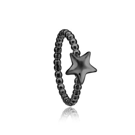 Priesme stjerne ring i sort rhodineret sølv