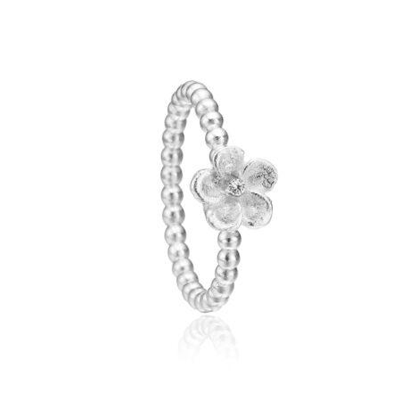 Priesme ring i sølv med blomst og krystal