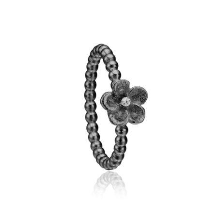 Priesme blomster ring i sort rhodineret sølv