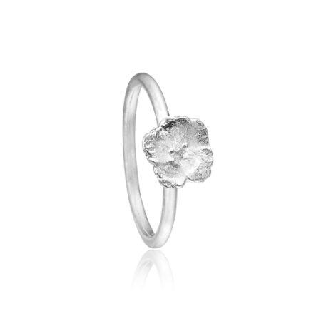 Priesme sølv ring med blomst