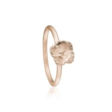 Priesme ring med blomst i rosa forgyldt sølv