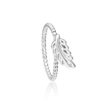 Priesme sølv ring med elegant blad