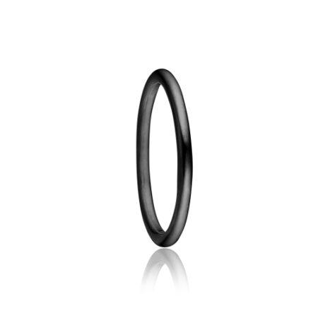 Sort rhodineret Priesme ring