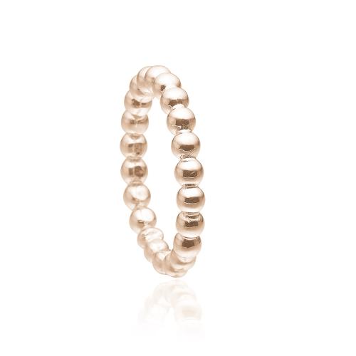 Priesme kugle ring i rosa forgyldt sølv