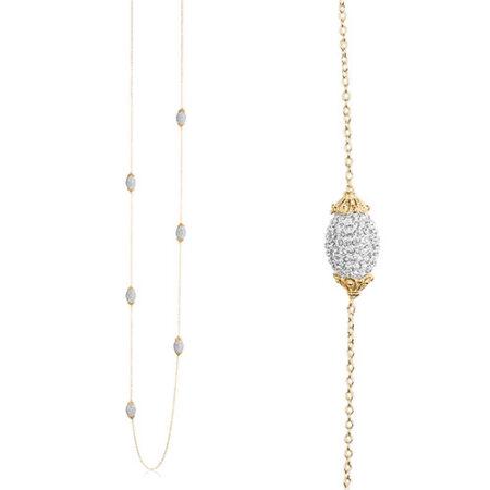 Priesme Brilliant Selection halskæde med 6 ovale Swarovski kugler