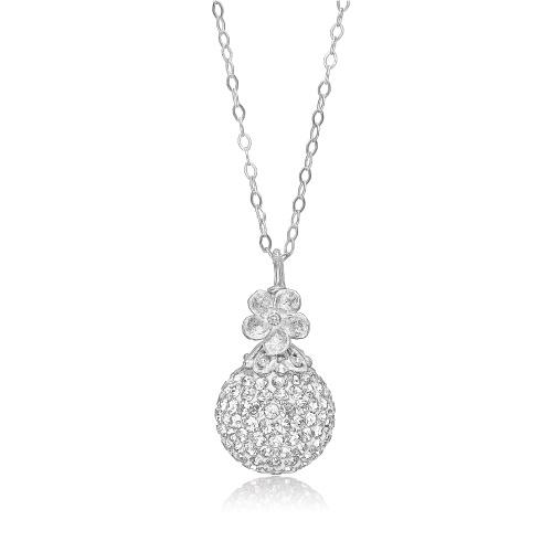 Priesme halskæde i blankt Sterling sølv med Swarovski krystaller