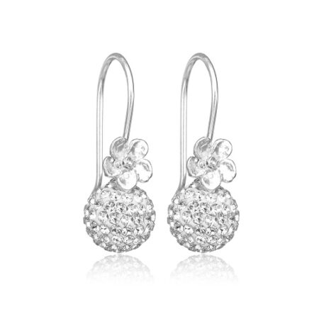 Priesme sølv ørering med klare krystaller