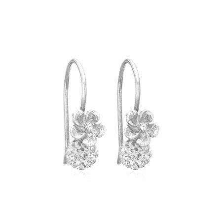Priesme sølv øreringe med blomster