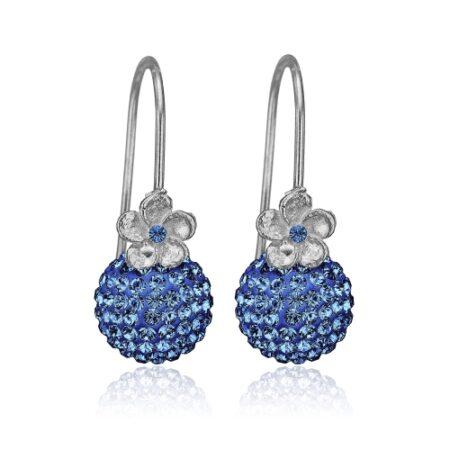Sølv ørering med blå sten