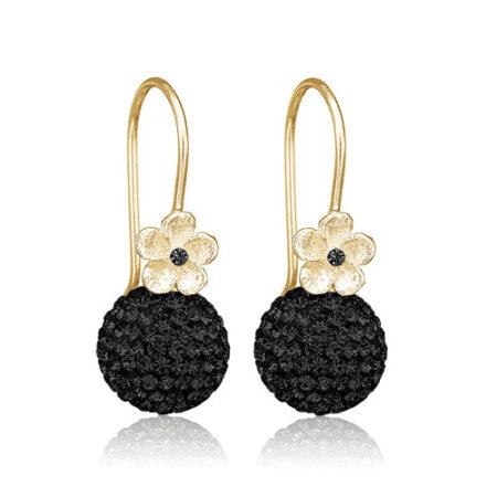 Priesme øreringe med sorte Swarovski sten
