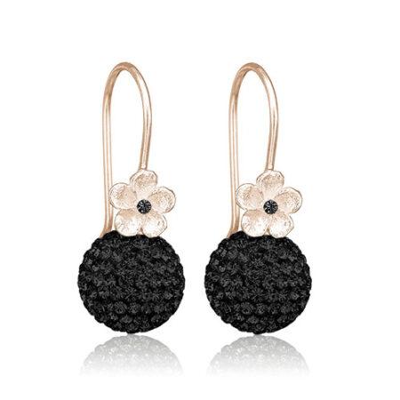 Priesme øreringe med sorte krystaller