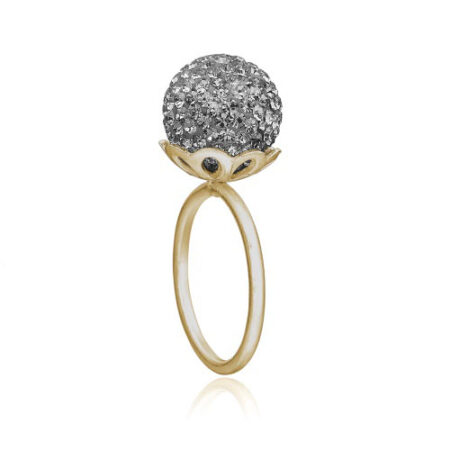 Ring i forgyldt sølv med grå sten