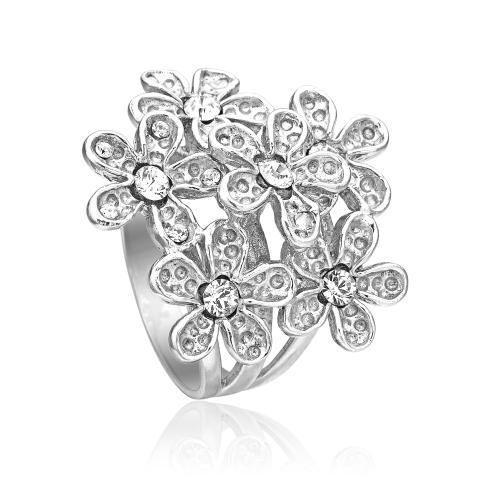 Priesme sølv blomster ring