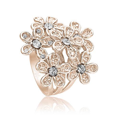 Ring i rosa sølv med stor blomst fra Priesme