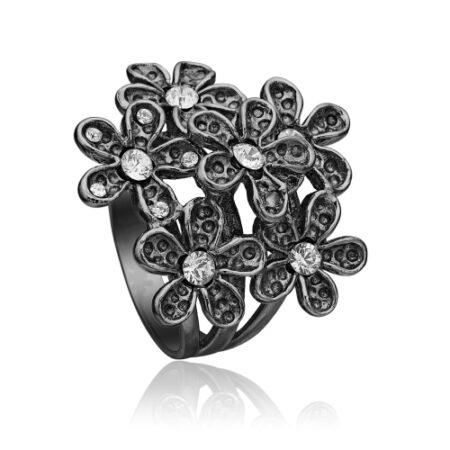 Blomster ring i sort sølv