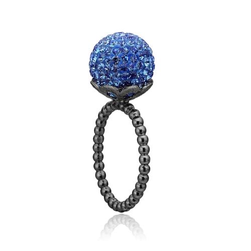 Sort sølv ring med blå sten