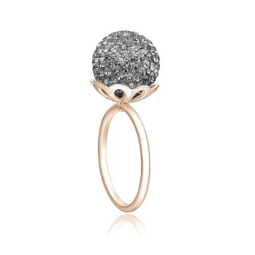 Ring i rosa sølv med grå sten