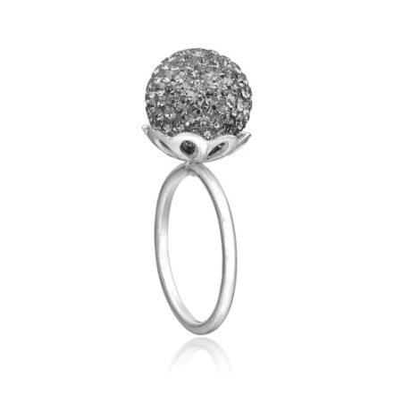 Ring i sølv med grå sten