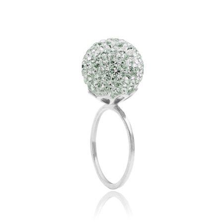 Ring i sølv (925 Sterling sølv) med stor kugle (10 mm) fyldt med små fine mint farvede Swarovski krystaller