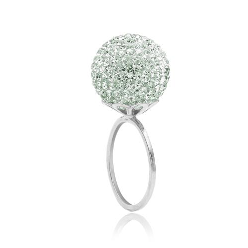 Ring i sølv (925 Sterling sølv) med stor kugle (16 mm) fyldt med små fine mint farvede Swarovski krystaller