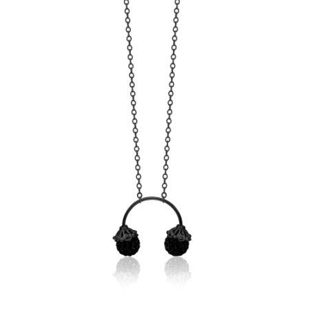 Halskæde fra Priesme med sorte kugler med Swarovski krystaller