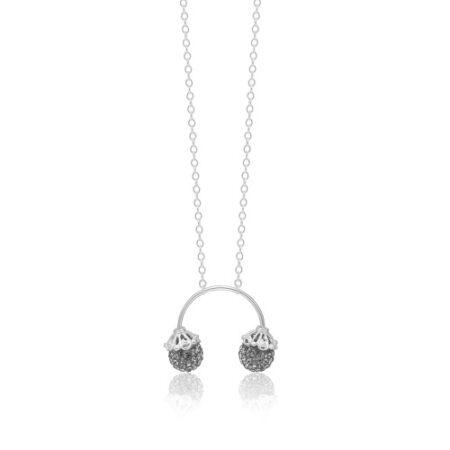 Priesme halskæde med grå krystaller