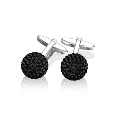 Manchetknapper i sølv med sorte Swarovski krystaller