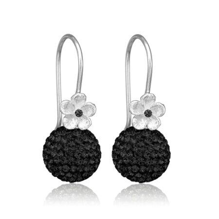 Priesme ørering i sølv med sorte kugler