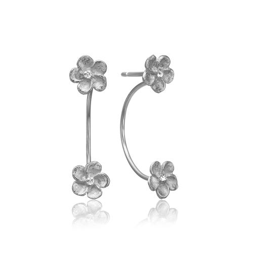Sølv ørering med blomster