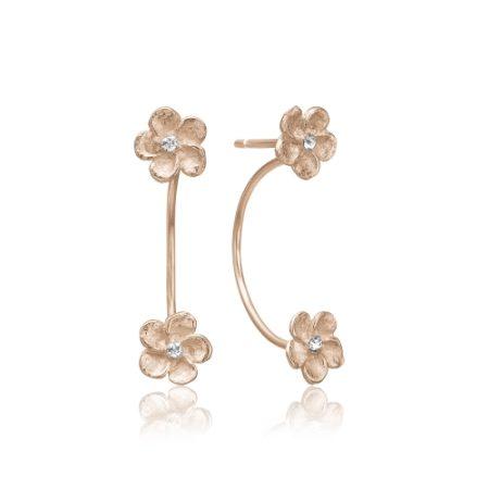 Rosa forgyldt sølv ørering med blomster