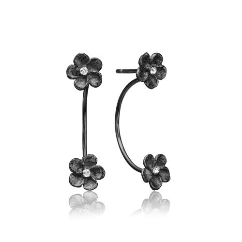 Sort rhodineret sølv ørering med blomster