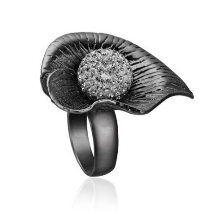 Priesme ring i sort Sterling sølv