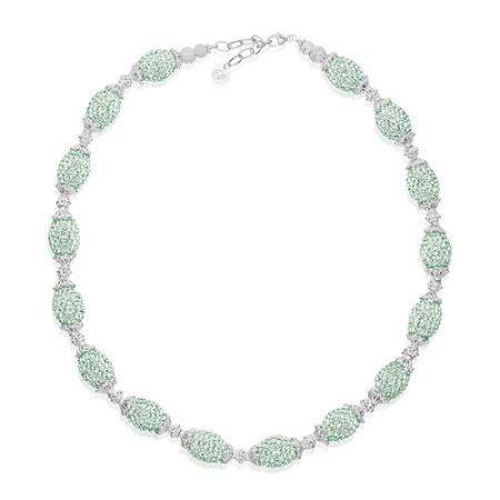 Priesme Swarovski smykke med mint grønne sten