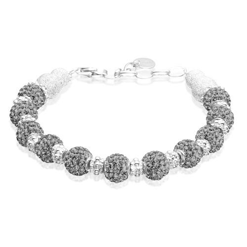 Armbånd med grå Swarovski krystaller