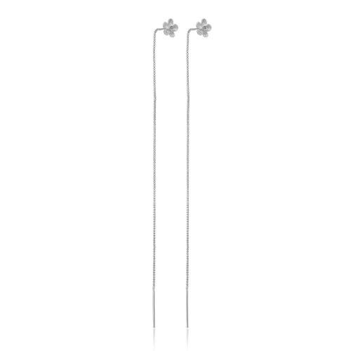 Øretråd med grå sten fra Priesme