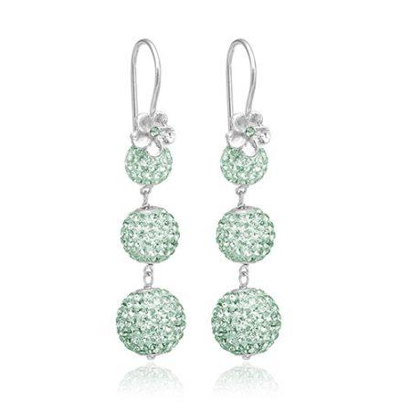 Priesme øreringe med mint grønne Swarovski krystaller