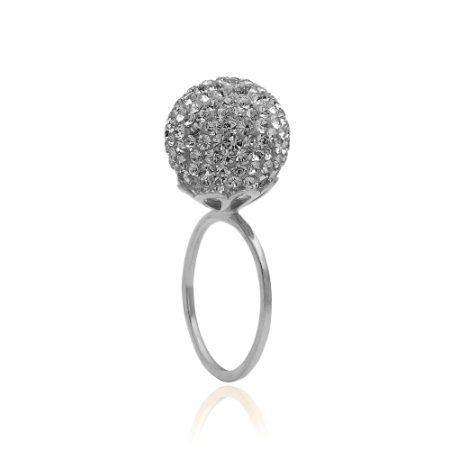 Sølvring med grå Swarovski krystaller