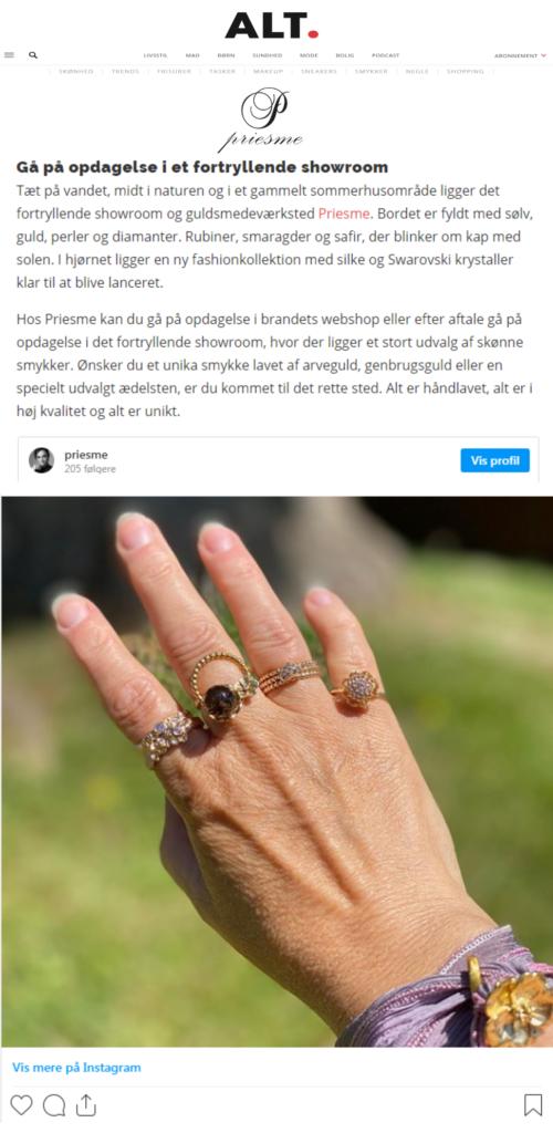 Priesme artikel i Alt for damerne og på www.alt.dk med flere forskellige smykker